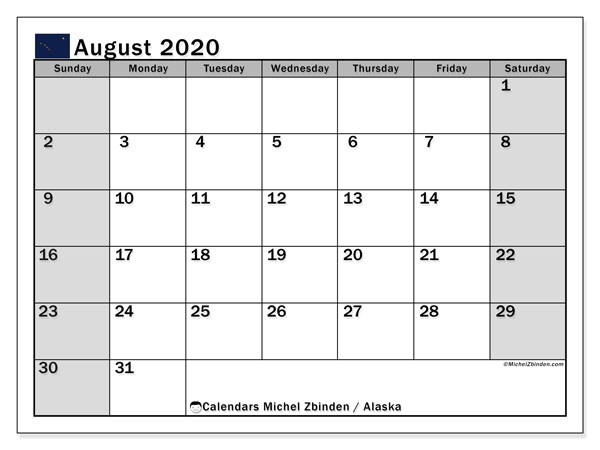 August 2020 Calendar, with the holidays of Alaska. Holidays calendar to print free.