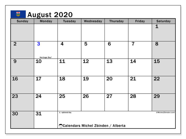 "Printable ""Alberta"" calendar with public holidays. Monthly August 2020 calendar and timetable to print free."