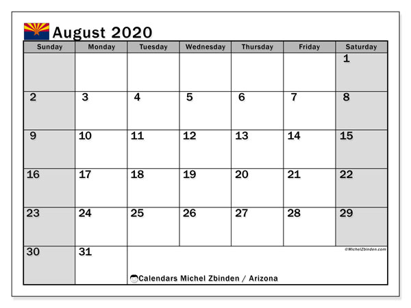August 2020 Calendar, with the holidays of Arizona. Free printable calendar with public holidays.