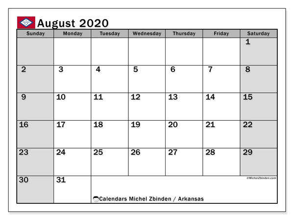"Printable ""Arkansas"" calendar with public holidays. Monthly August 2020 calendar and free agenda to print."