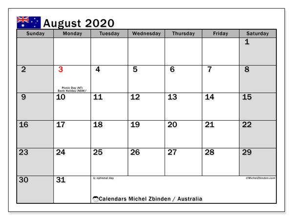 August 2020 Calendar, with the holidays of Australia. Holidays calendar to print free.