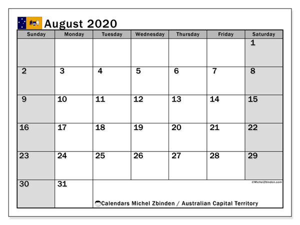 August 2020 Calendar, with the holidays of Australian Capital Territory. Free printable calendar with public holidays.