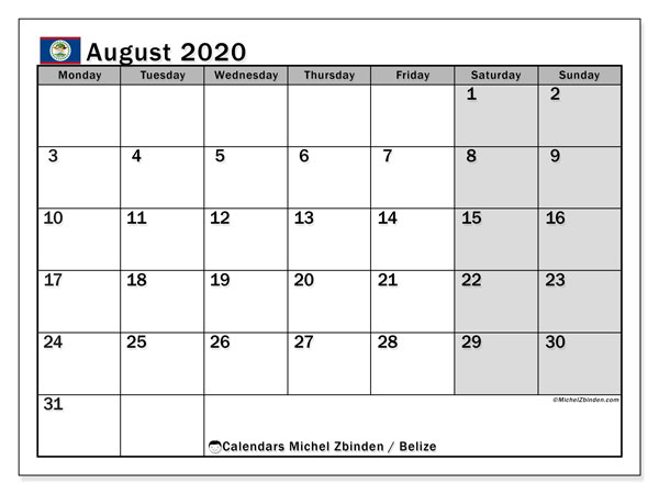 Printable August 2020 Calendar, Belize