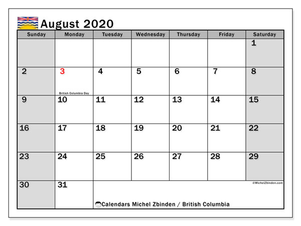 "Printable ""British Columbia"" calendar with public holidays. Monthly August 2020 calendar and planner to print free."