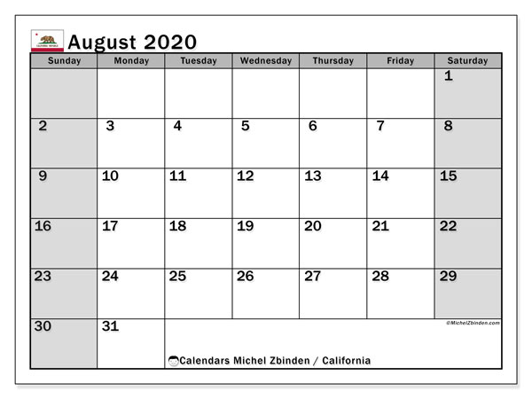 August 2020 Calendar, with the holidays of California. Holidays calendar to print free.