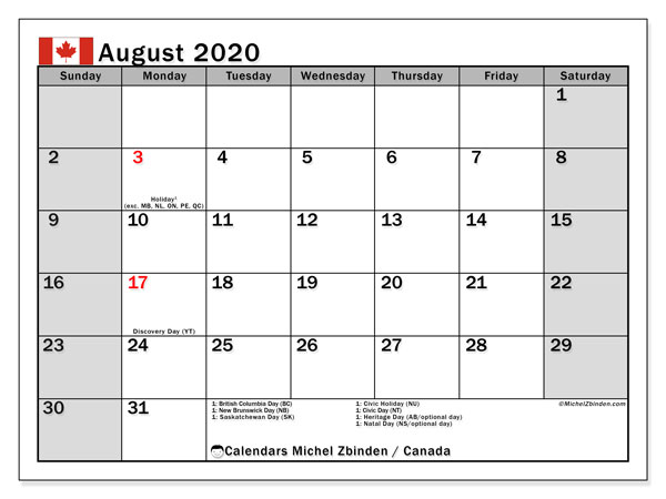 August 2020 Calendar, with the holidays of Canada. Holidays calendar to print free.