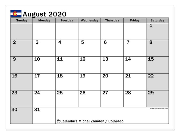 August 2020 Calendar, with the holidays of Colorado. Free printable calendar with public holidays.