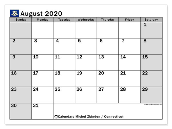 "Printable ""Connecticut"" calendar with public holidays. Monthly August 2020 calendar and free agenda to print."