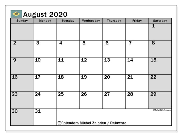 August 2020 Calendar, with the holidays of Delaware. Free printable calendar with public holidays.
