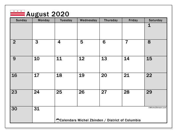 "Printable ""District of Columbia"" calendar with public holidays. Monthly August 2020 calendar and free printable timetable."