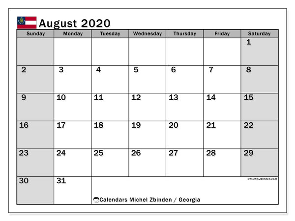 August 2020 Calendar, with the holidays of Georgia. Holidays calendar to print free.