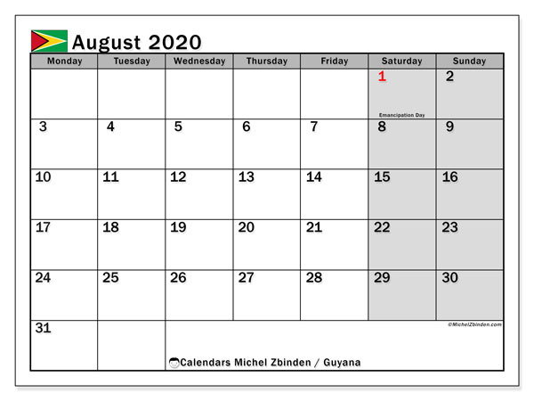 August 2020 Calendar, with the holidays of Guyana. Holidays calendar to print free.