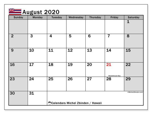 "Printable ""Hawaii"" calendar with public holidays. Monthly August 2020 calendar and free bullet journal to print."