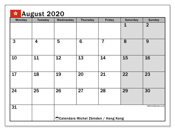 August 2020 Calendar, with the holidays of Hong Kong. Free printable calendar with public holidays.