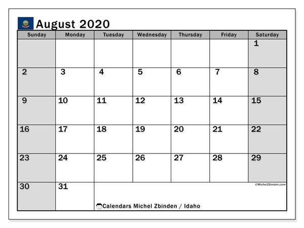 August 2020 Calendar, with the holidays of Idaho. Holidays calendar to print free.