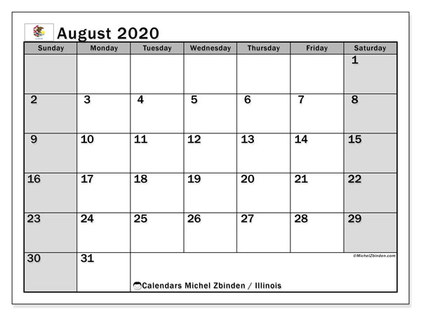 August 2020 Calendar, with the holidays of Illinois. Holidays calendar to print free.
