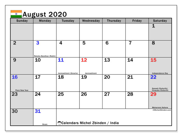 Calendar August 2020 - India. Public Holidays. Monthly Calendar and free printable bullet journal.