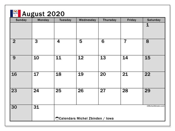 August 2020 Calendar, with the holidays of Iowa. Holidays calendar to print free.