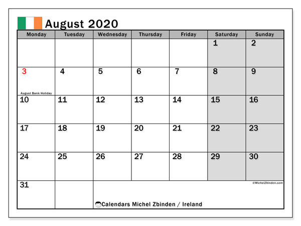 August 2020 Calendar, with the holidays of Ireland. Free printable calendar with public holidays.