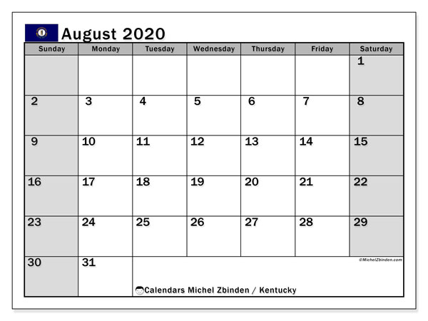 August 2020 Calendar, with the holidays of Kentucky. Holidays calendar to print free.
