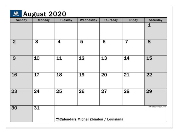 August 2020 Calendar, with the holidays of Louisiana. Holidays calendar to print free.