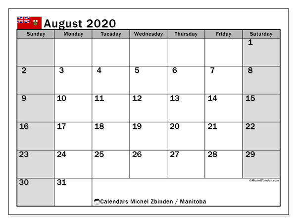 August 2020 Calendar, with the holidays of Manitoba. Free printable calendar with public holidays.