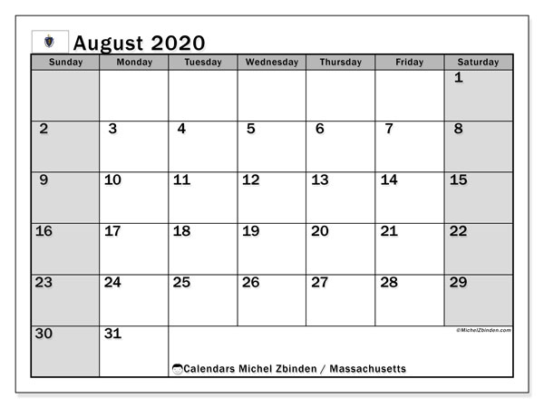 August 2020 Calendar, with the holidays of Massachusetts. Holidays calendar to print free.