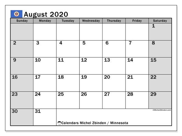August 2020 Calendar, with the holidays of Minnesota. Free printable calendar with public holidays.