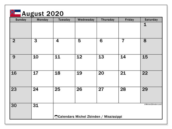 August 2020 Calendar, with the Mississippi holidays. Free printable calendar with public holidays.