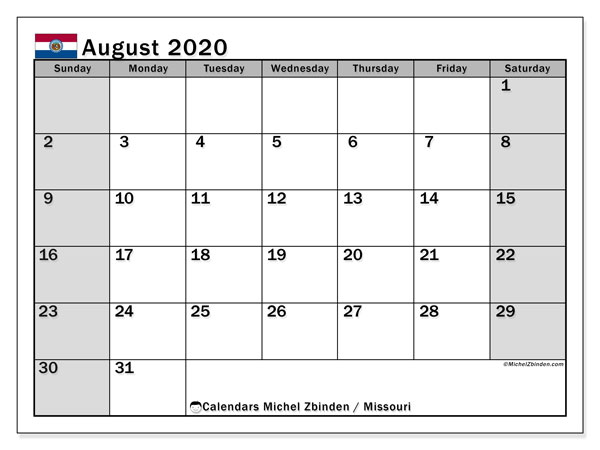 August 2020 Calendar, with the holidays of Missouri. Free printable calendar with public holidays.