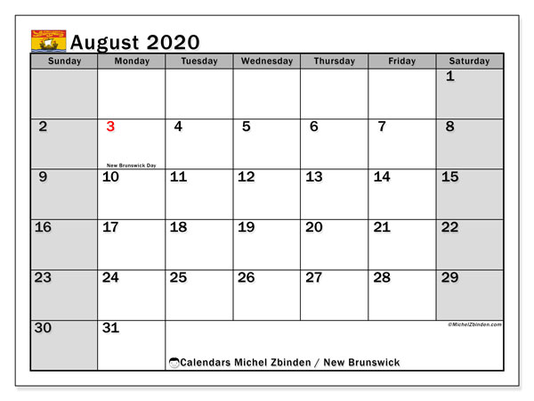 August 2020 Calendar, with the holidays of New Brunswick. Holidays calendar to print free.