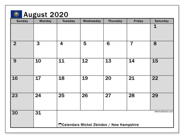 August 2020 Calendar, with the holidays of New Hampshire. Free printable calendar with public holidays.