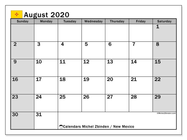 August 2020 Calendar, with the holidays of New Mexico. Holidays calendar to print free.