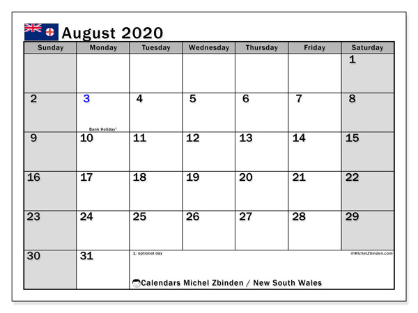 Calendar August 2020 - New south wales. Public Holidays. Monthly Calendar and bullet journal to print free.