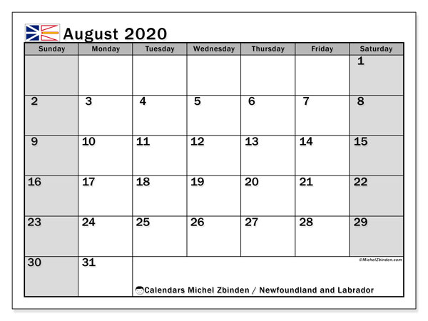 August 2020 Calendar, with the holidays of Newfoundland and Labrador. Holidays calendar to print free.