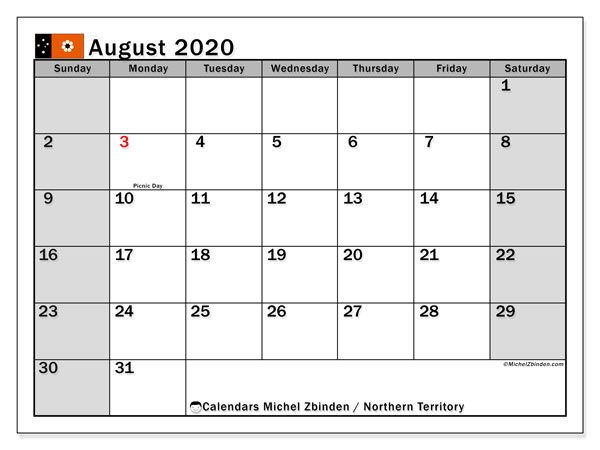 August 2020 Calendar, with the holidays of Northern Territory. Holidays calendar to print free.