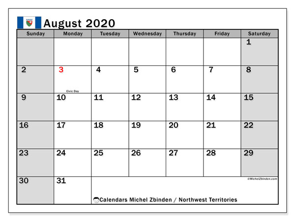 August 2020 Calendar, with the holidays of Northwest Territories. Holidays calendar to print free.