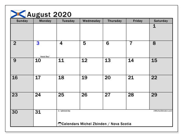 August 2020 Calendar, with the holidays of Nova Scotia. Free printable calendar with public holidays.