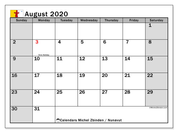 August 2020 Calendar, with the holidays of Nunavut. Free printable calendar with public holidays.