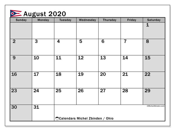 August 2020 Calendar, with the holidays of Ohio. Holidays calendar to print free.