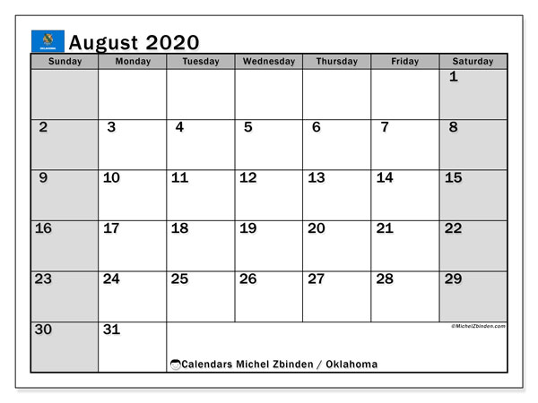 August 2020 Calendar, with the holidays of Oklahoma. Holidays calendar to print free.