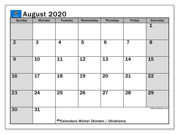 August 2020 Calendar, with the holidays of Oklahoma. Free printable calendar with public holidays.