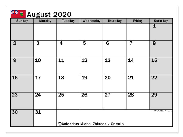August 2020 Calendar, with the holidays of Ontario. Free printable calendar with public holidays.