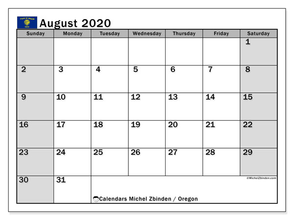 August 2020 Calendar, with the holidays of Oregon. Holidays calendar to print free.