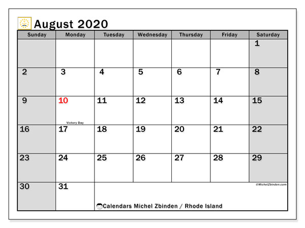 August 2020 Calendar, with the holidays of Rhode Island. Free printable calendar with public holidays.
