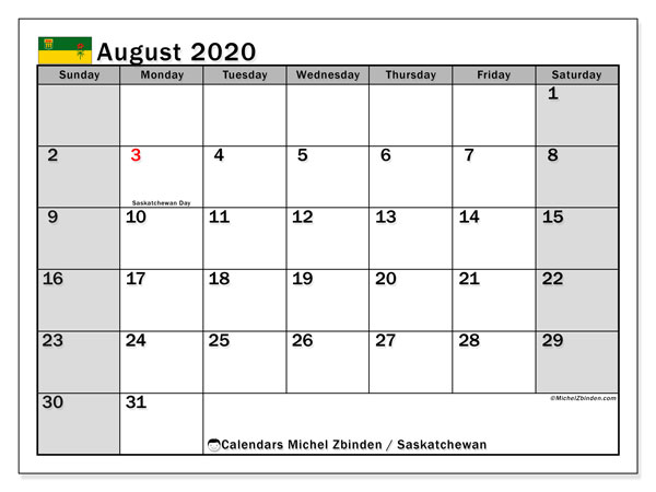 "Printable ""Saskatchewan"" calendar with public holidays. Monthly August 2020 calendar and free schedule to print."