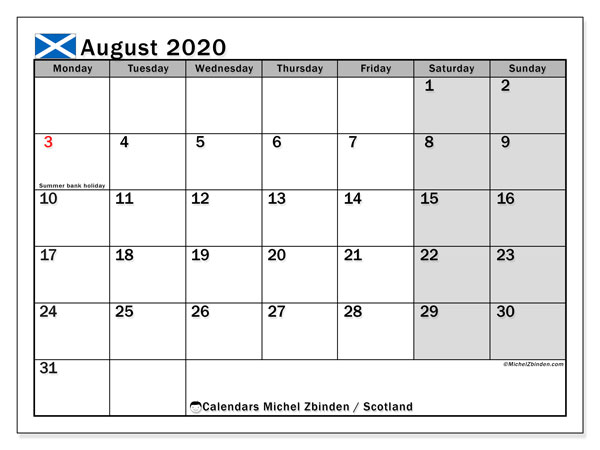 August 2020 Calendar, with the holidays of Scotland. Holidays calendar to print free.
