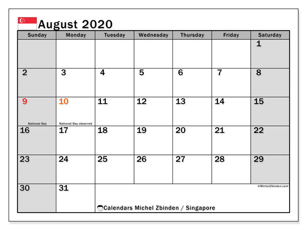 August 2020 Calendar, with the holidays of Singapore. Holidays calendar to print free.