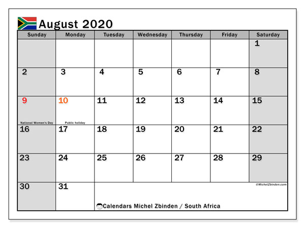 Calendar August 2020, with the holidays of South Africa. Calendar for the month to print free.