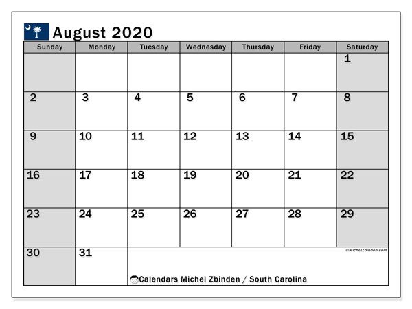 August 2020 Calendar, with the holidays of South Carolina. Free printable calendar with public holidays.
